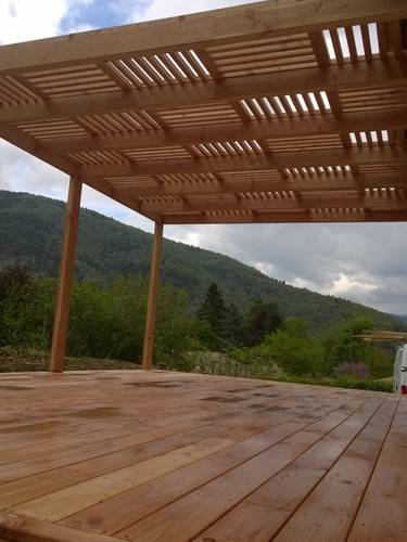 r alisation d 39 une terrasse avec pergola saillans os bois. Black Bedroom Furniture Sets. Home Design Ideas